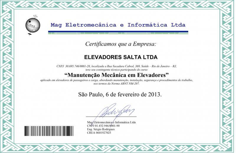 Certificado em Manutenção Mecânica em Elevadores